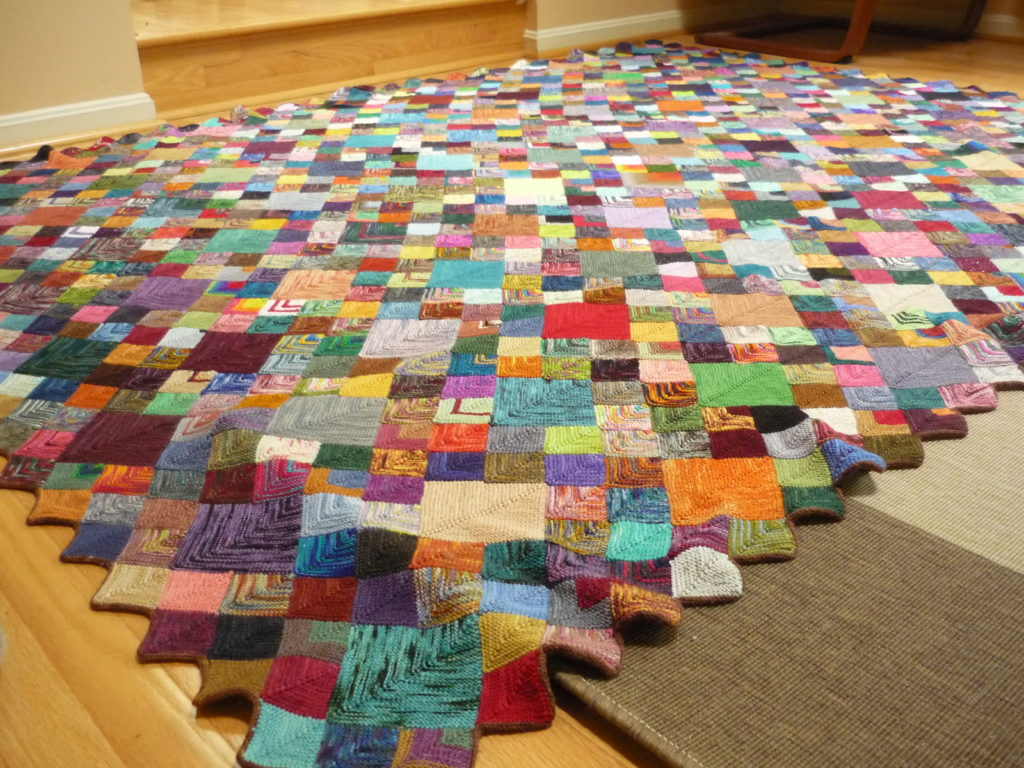 Mitred Square Sock Yarn Blanket